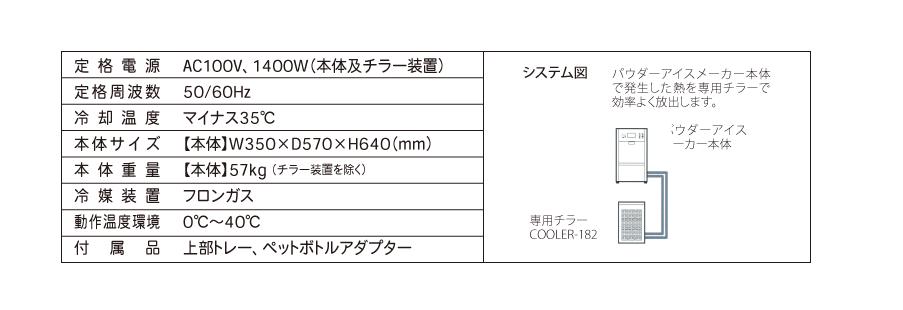 定格電源:AC100V、1400W(本体及チラー装置)/定格周波数:50/60Hz/冷却温度:マイナス35℃/本体サイズ:【本体】W350×D570×H640(mm)/本体重量:【本体】57kg (チラー装置を除く)/冷媒装置:フロンガス/動作温度環境:0℃〜40℃/付属品:上部トレー、ペットボトルアダプター